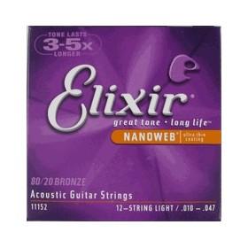 Elixir Acoustic Guitar Light 12 String NanoWeb Coating, .010 - .047